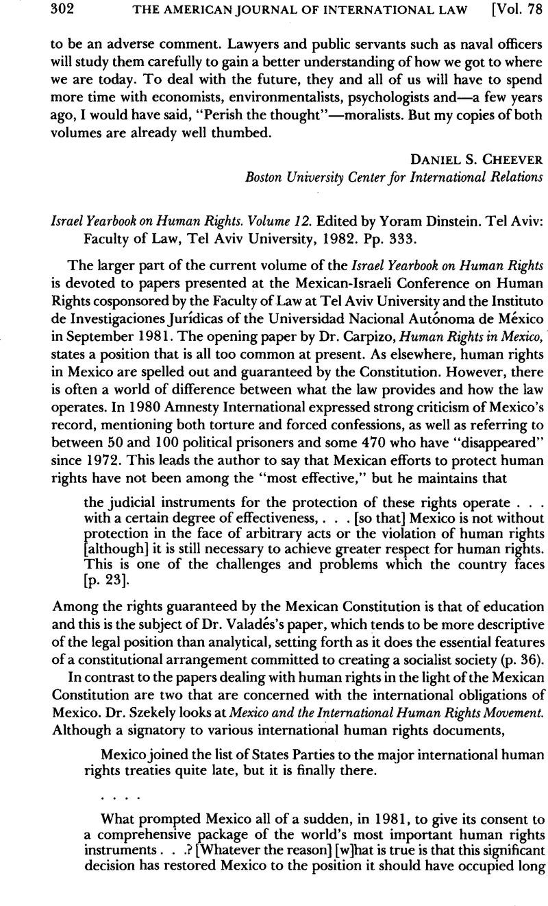 Israel Yearbook on Human Rights  Volume 12  Edited by Yoram Dinstein