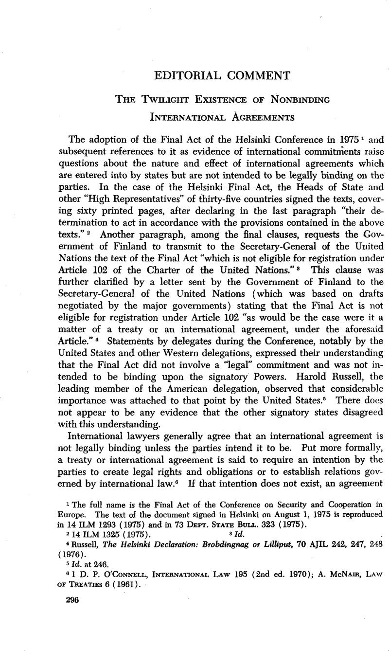 The Twilight Existence Of Nonbinding International Agreements