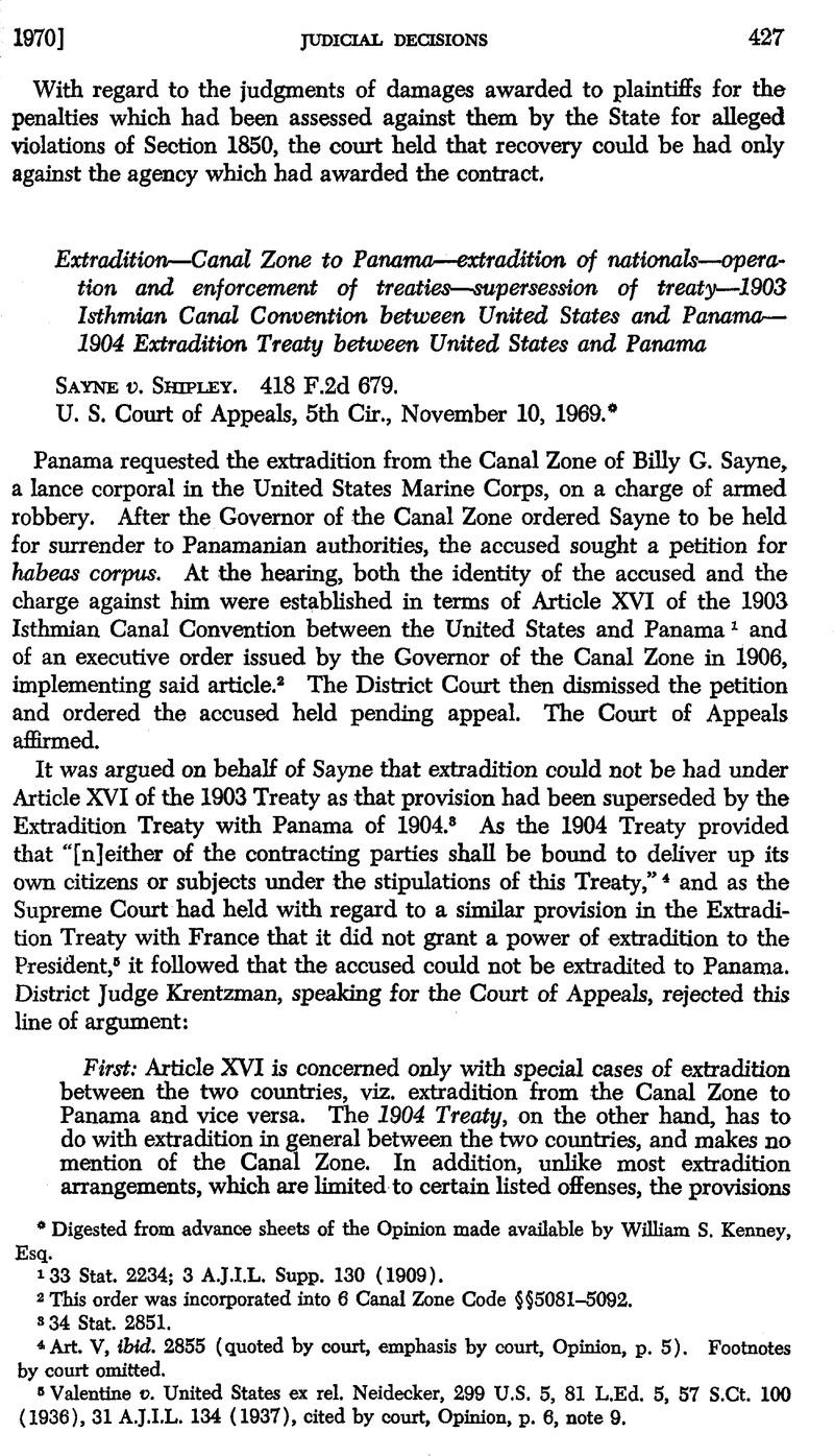 Sayne v  Shipley  418 F 2d 679 | American Journal of International