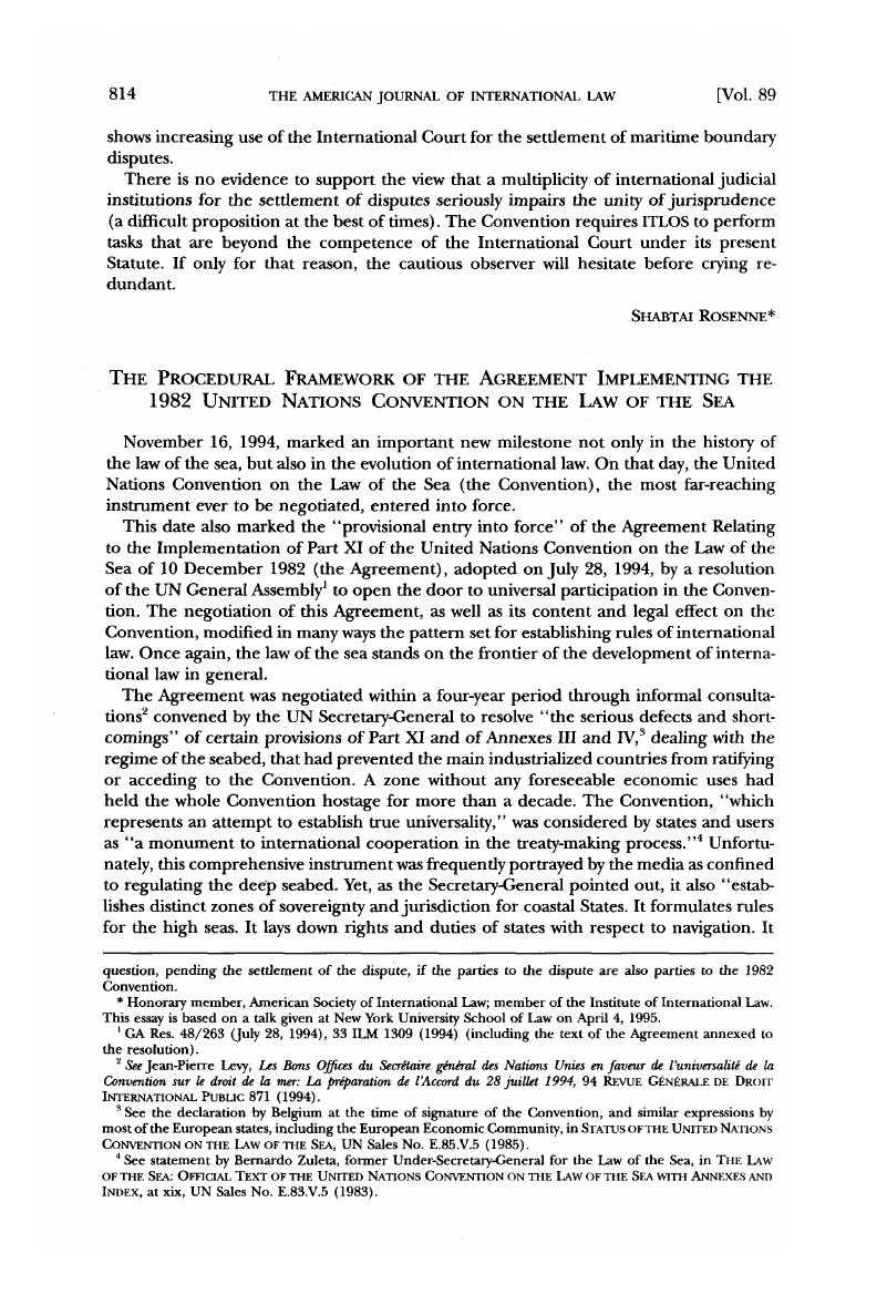 The Procedural Framework Of The Agreement Implementing The 1982