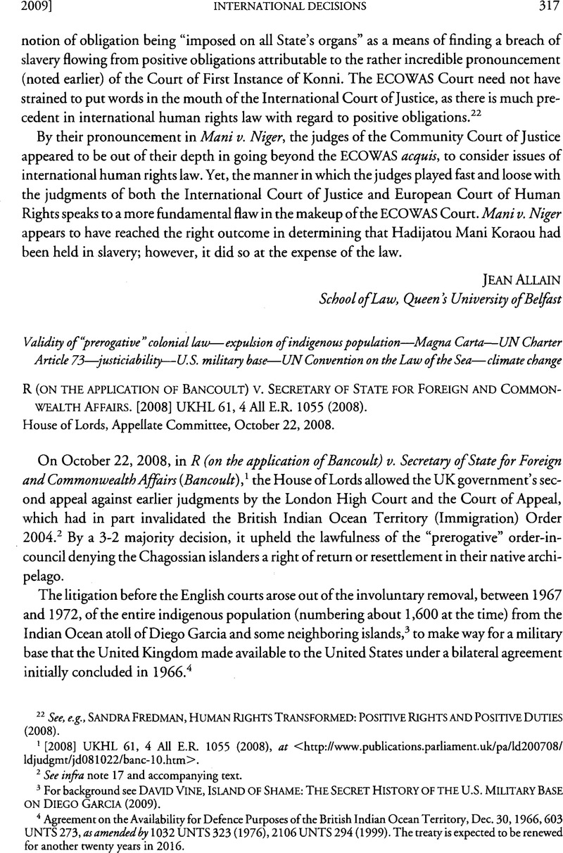 R On The Application Of Bancoult V Secretary State For Foreign And Commonwealth Affairs 2008 UKHL 61 4 All ER 1055