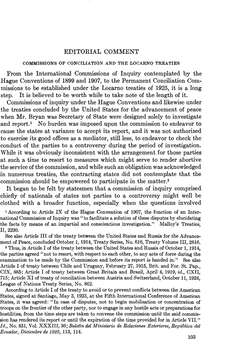 Commissions Of Conciliation And The Locarno Treaties American