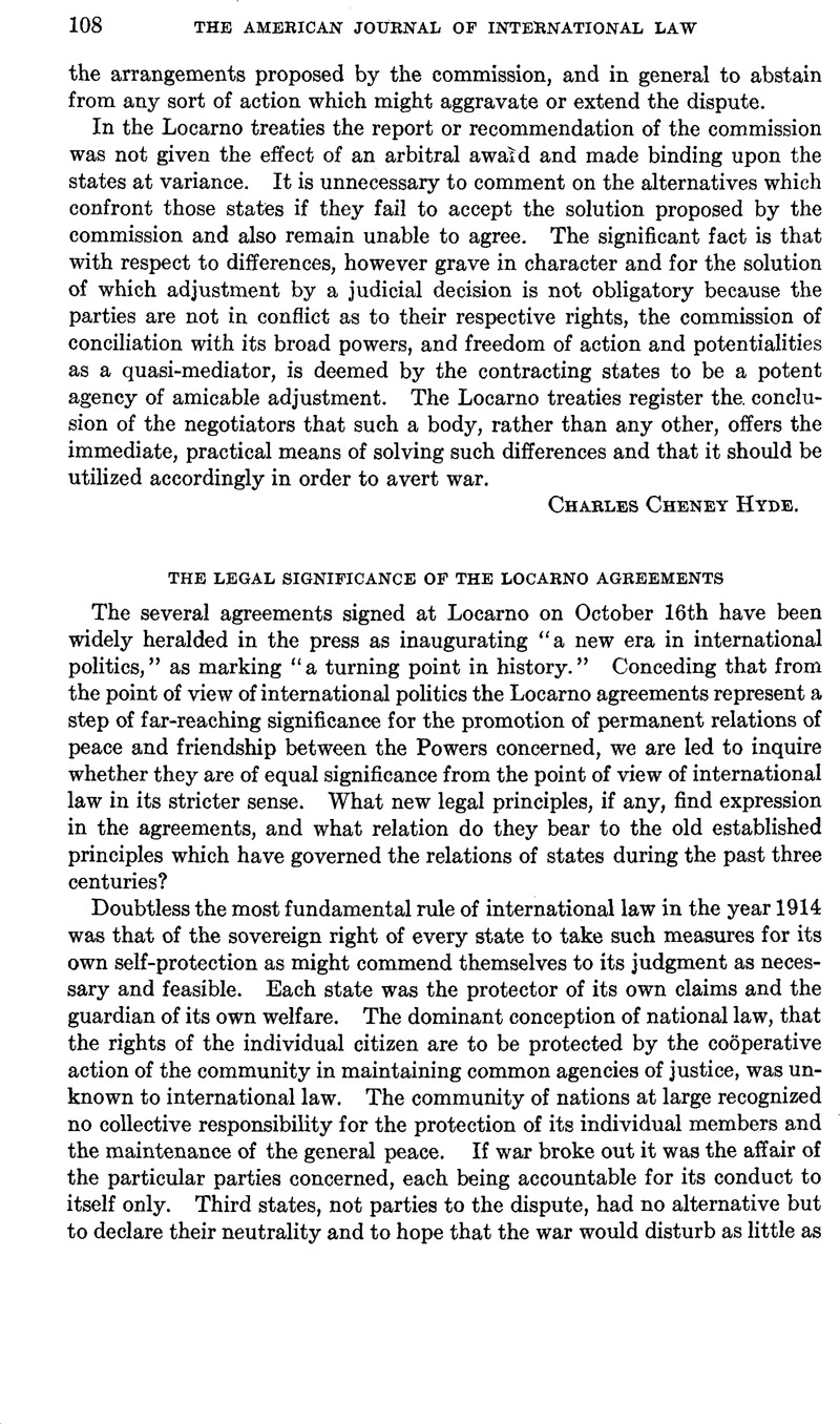 The Legal Significance Of The Locarno Agreements American Journal