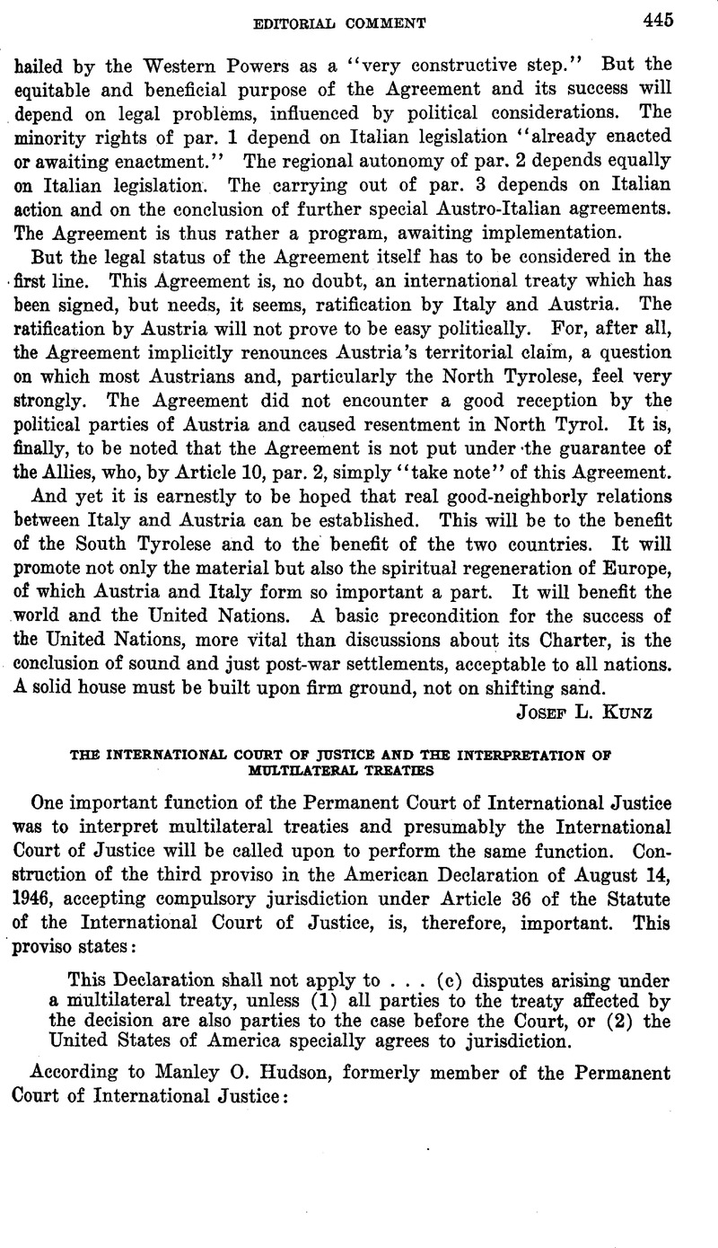 The International Court Of Justice And The Interpretation Of