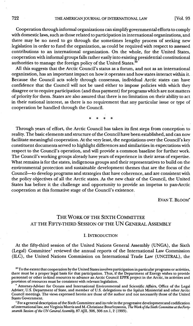 The Work of the Sixth Committee at the Fifty-Third Session