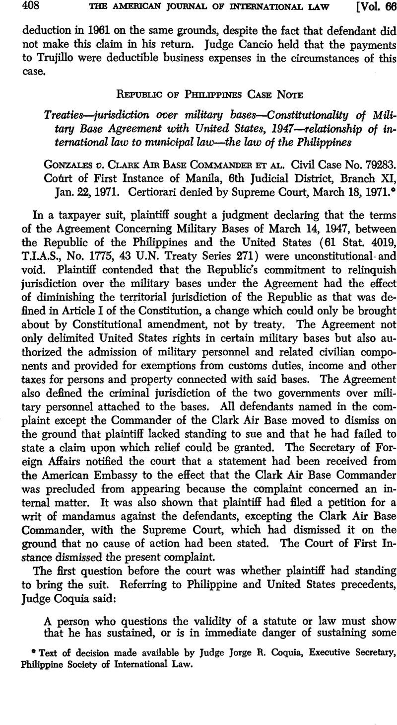 Gonzales V Clark Air Base Commander Et Al Civil Case No 79283