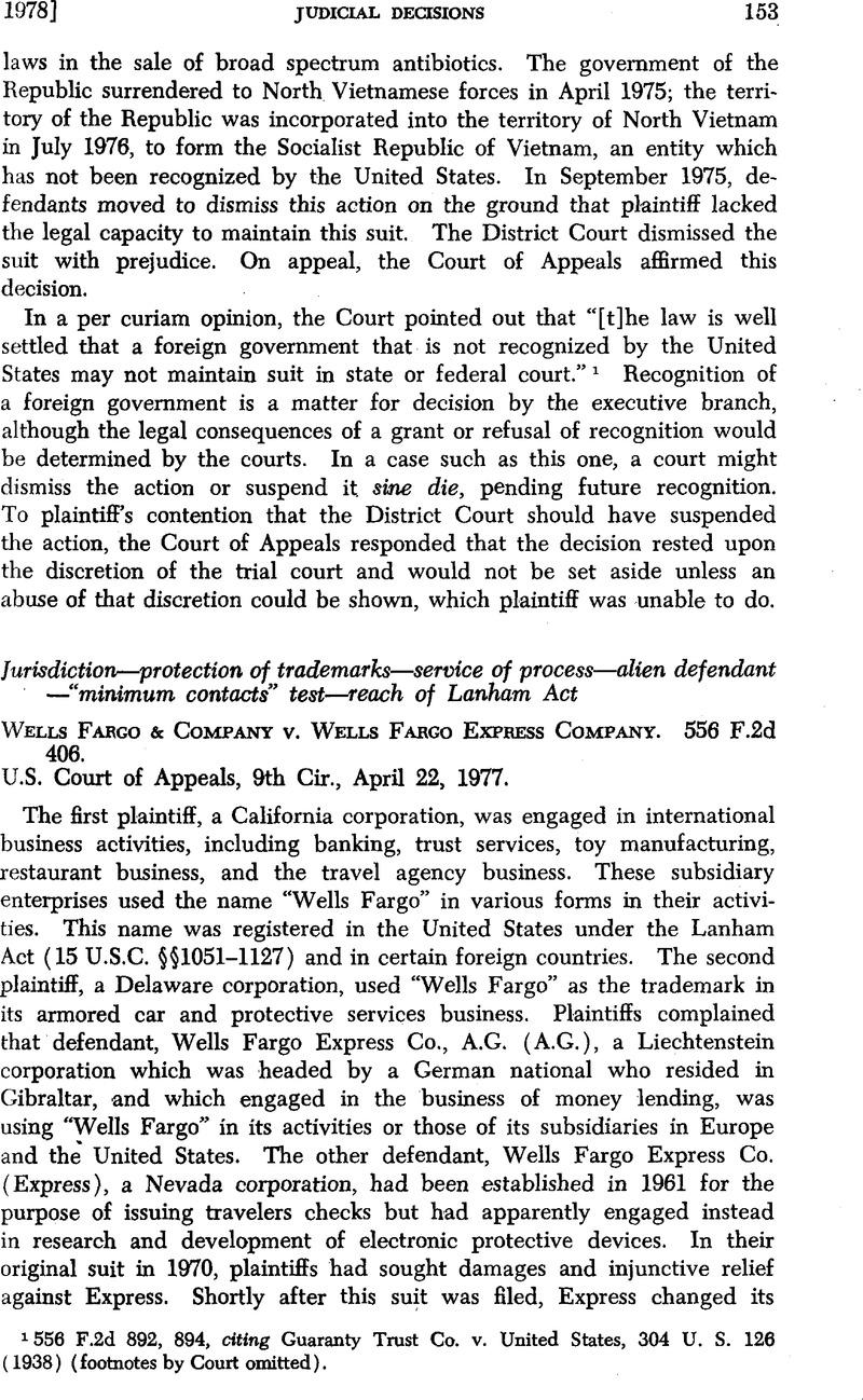 Wells Fargo & Company v. Wells Fargo Express Company. 556 F.2d 406 ...