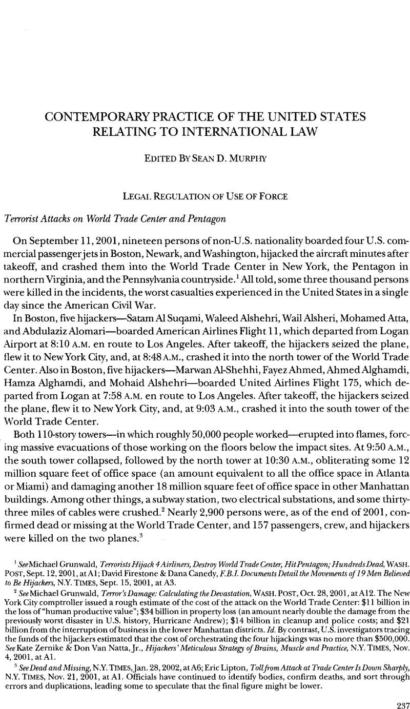 Terrorist Attacks on World Trade Center and Pentagon