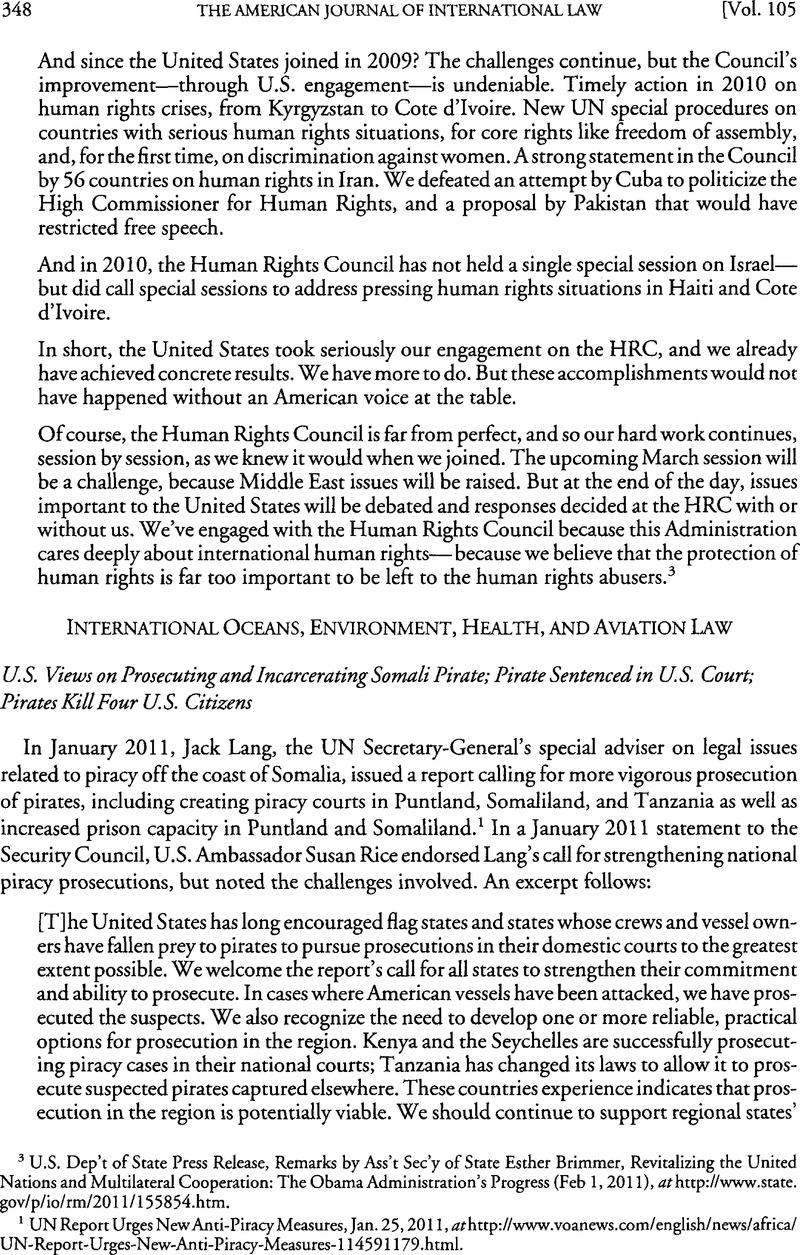 U S  Views on Prosecuting and Incarcerating Somali Pirate