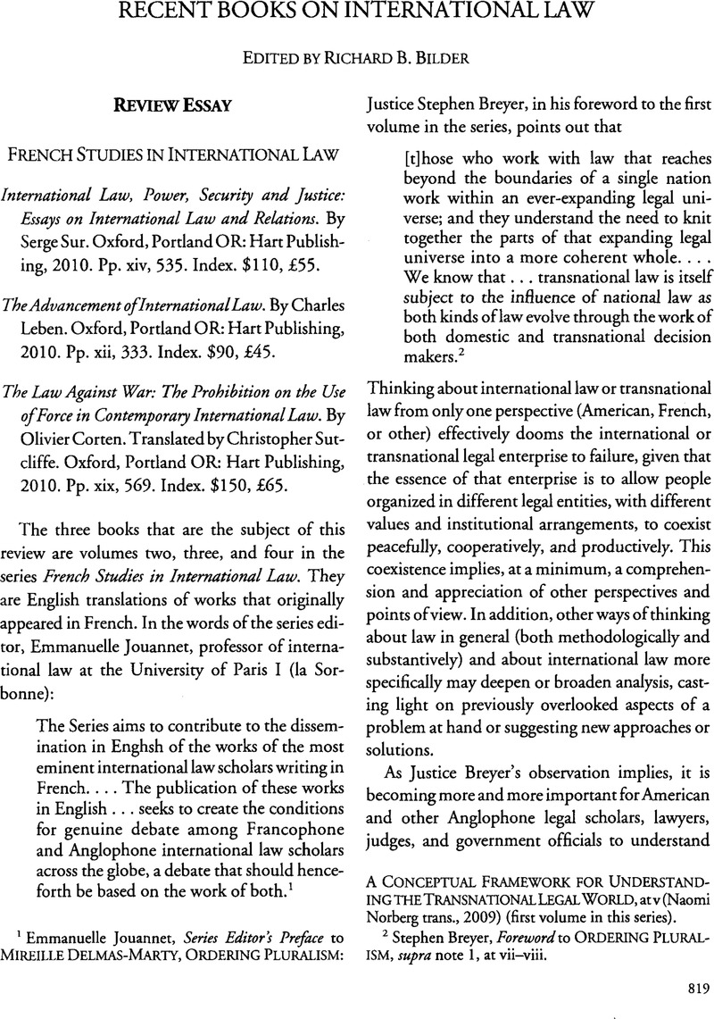 French Studies In International Law  American Journal Of  Copyright