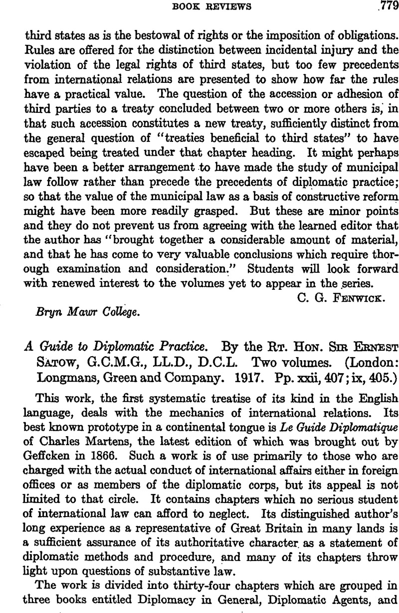 A Guide to Diplomatic Practice  By the Rt  Hon  Sir Ernest