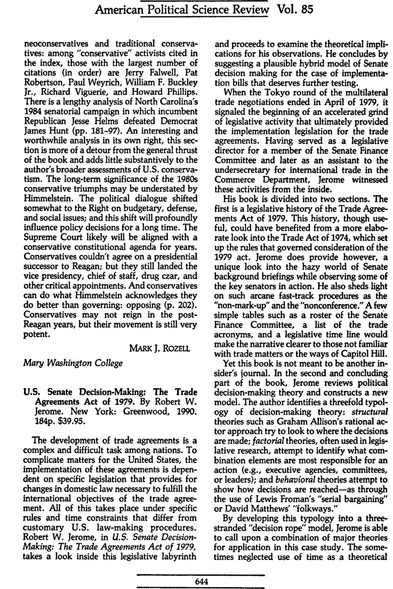 Us Senate Decision Making The Trade Agreements Act Of 1979 By