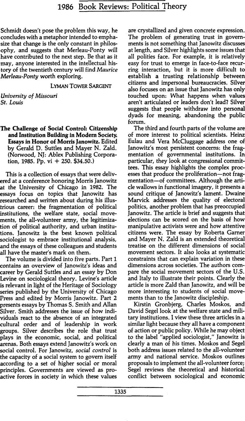 Research Essay Topics For High School Students The Challenge Of Social Control Citizenship And Institution Building In  Modern Society Essays In Honor Of Morris Janowitz Edited By Gerald D  Suttles And  Healthcare Essay Topics also Thesis For Argumentative Essay Examples The Challenge Of Social Control Citizenship And Institution  Business Essay Topics