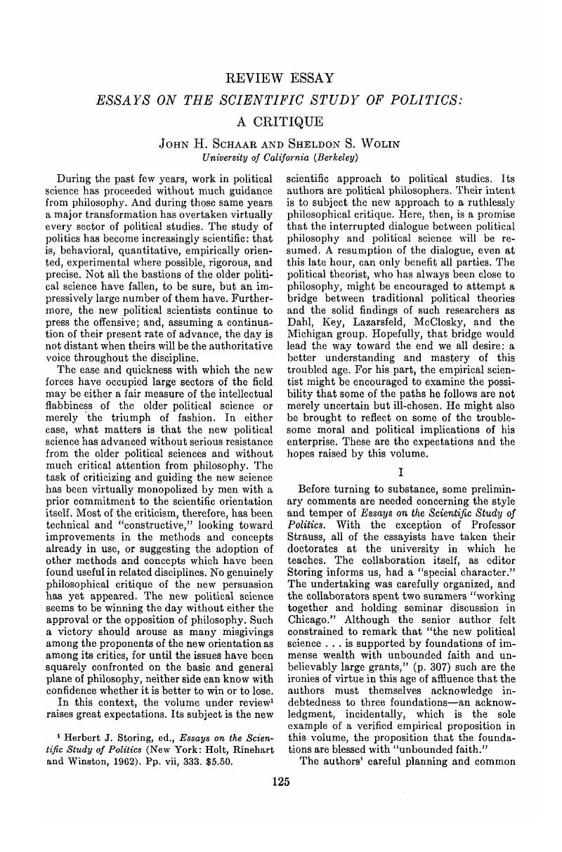 can the study of politics be scientific essays Additional physical format: online version: storing, herbert j, 1928-essays on the scientific study of politics new york, holt, rinehart and winston [1962.