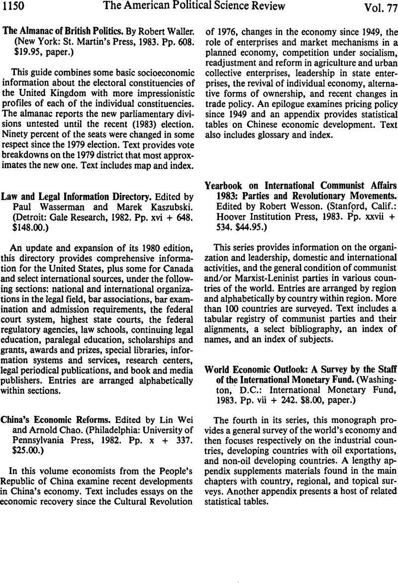 Yearbook on International Communist Affairs 1983: Parties