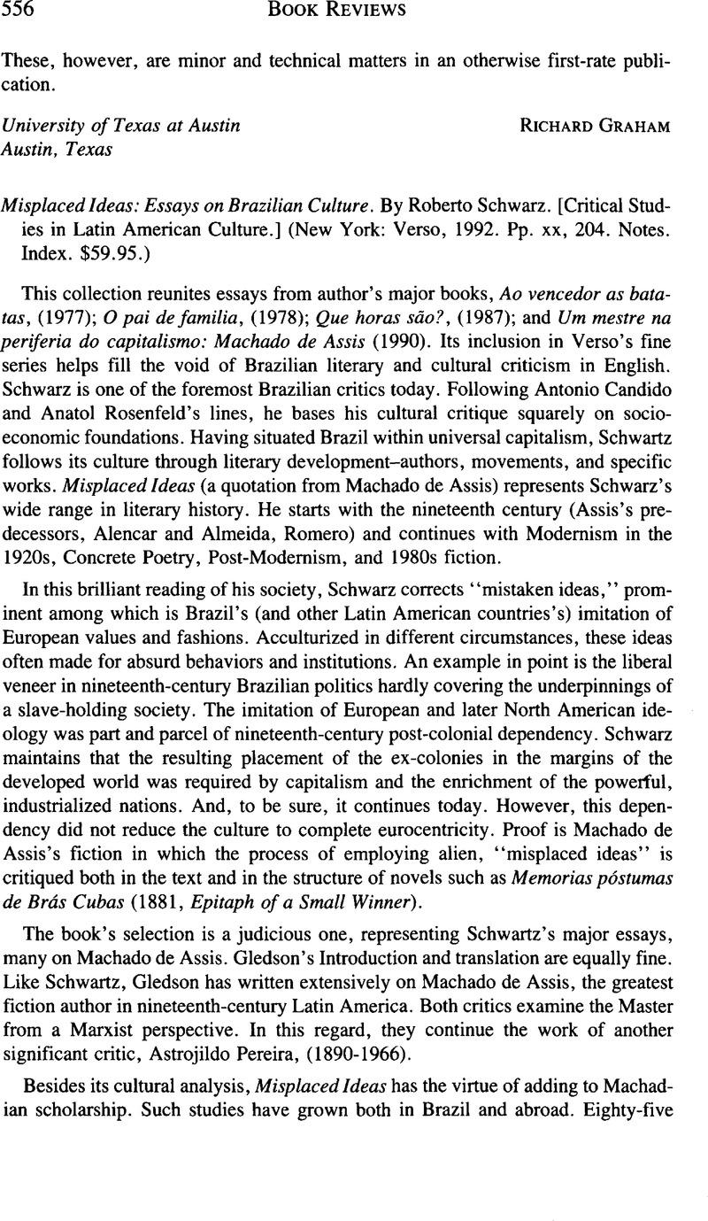 Misplaced Ideas Essays On Brazilian Culture By Roberto Schwarz  Captcha
