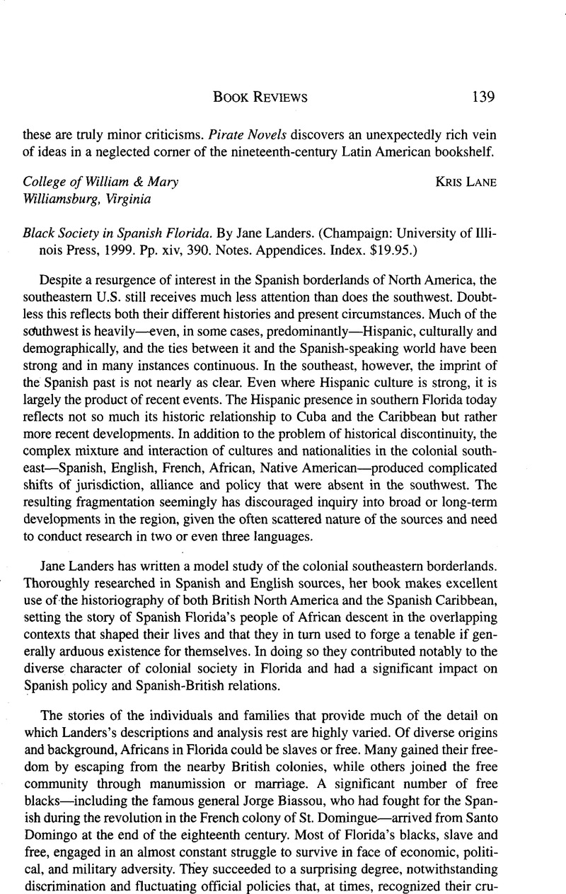 Black Society In Spanish Florida By Landers Jane Champaign