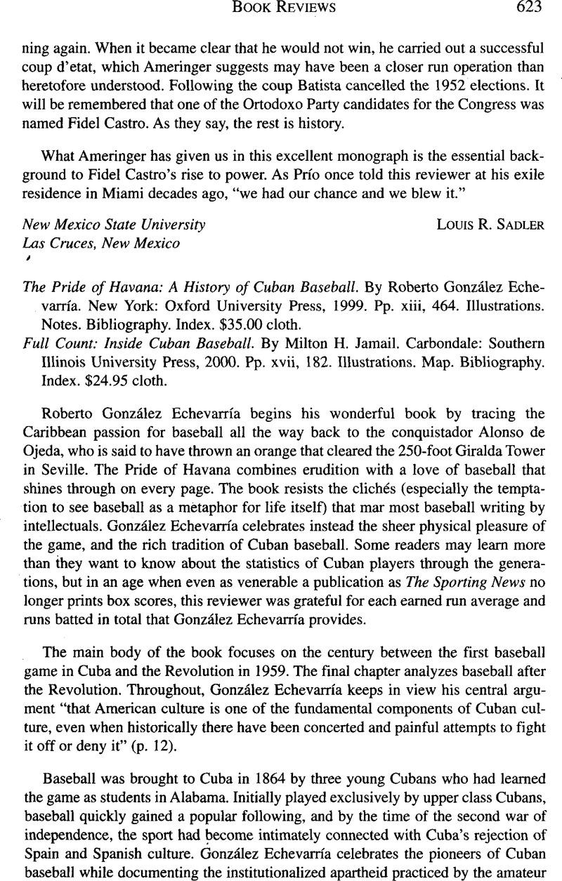 The Pride of Havana: A History of Cuban Baseball  By Roberto