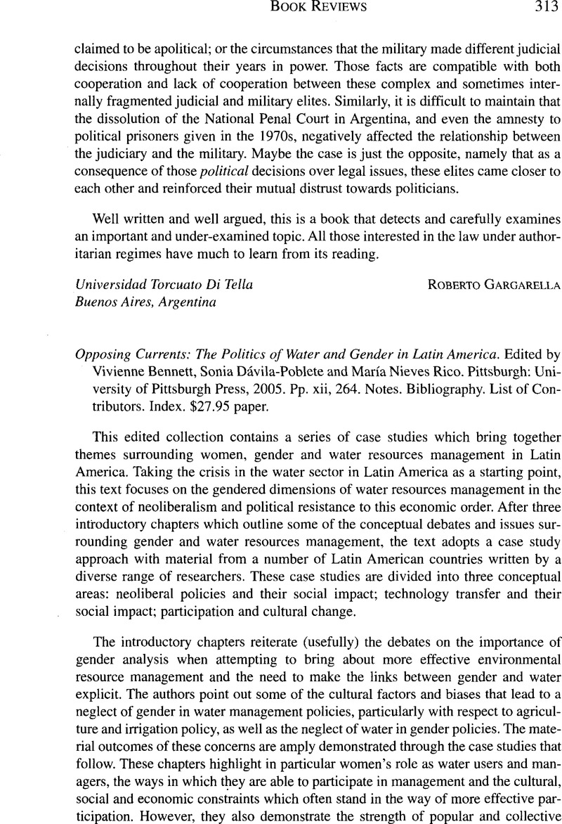 Opposing Currents: The Politics of Water and Gender in Latin
