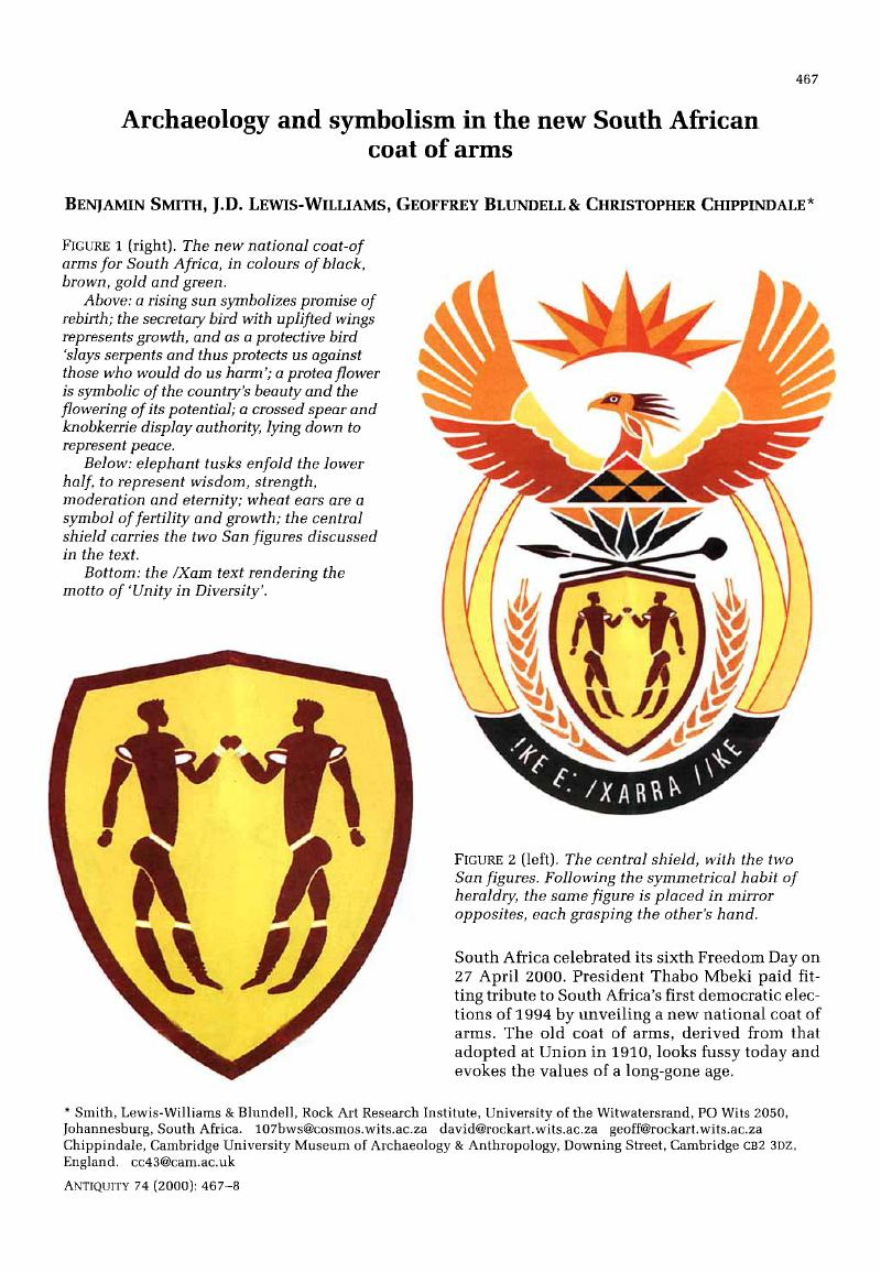 Archaeology And Symbolism In The New South African Coat Of Arms