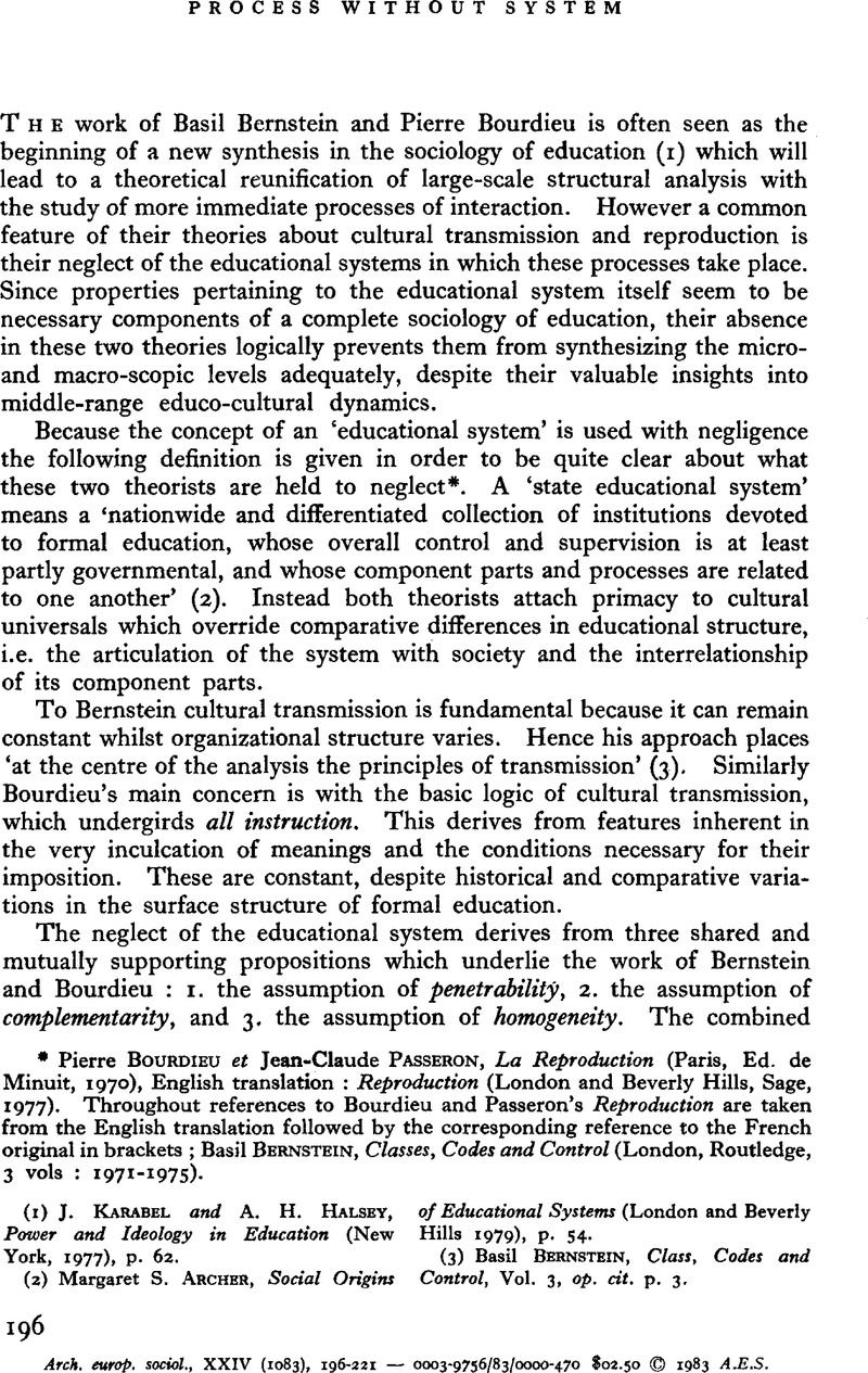 Power and ideology in education array process without system european journal of sociology archives rh cambridge org fandeluxe Images