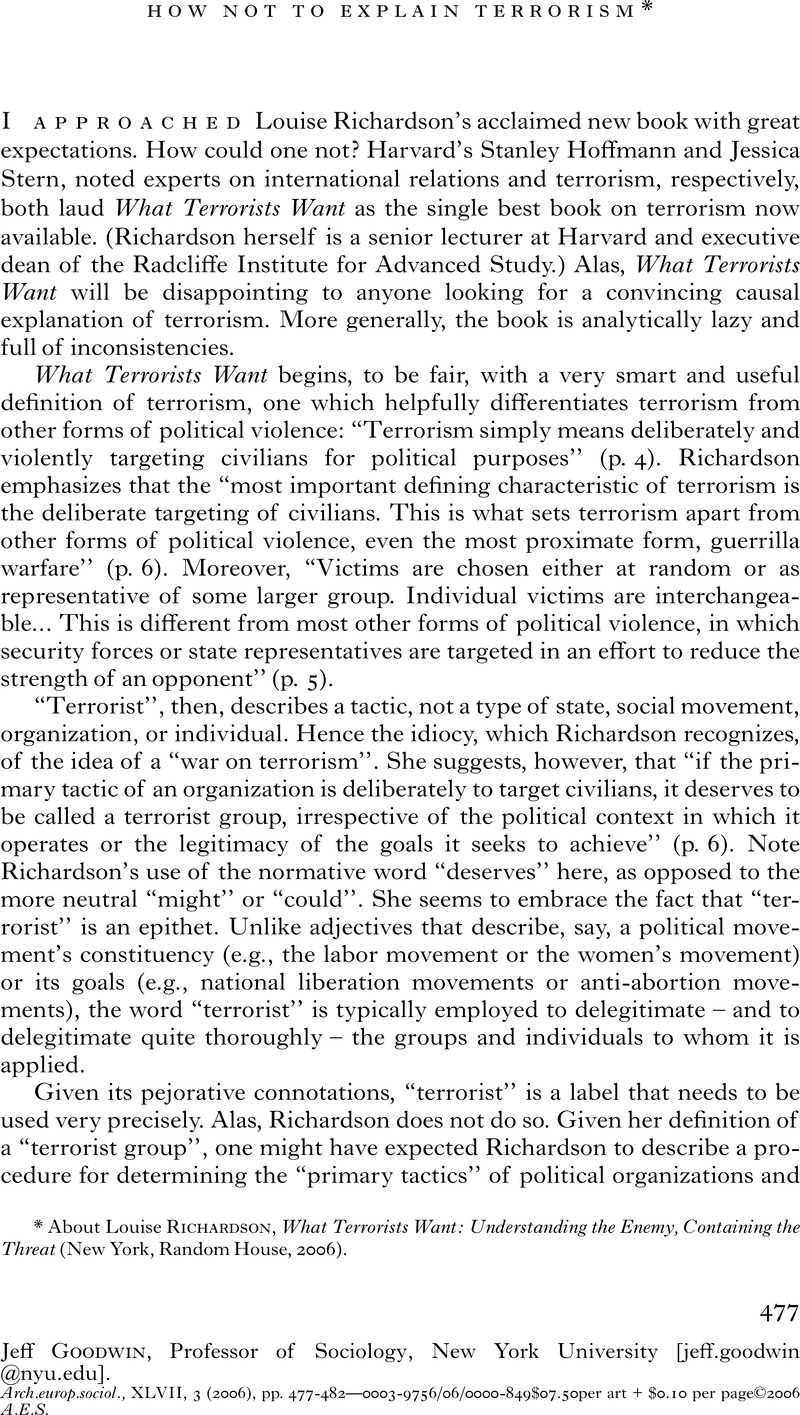 How Not To Explain Terrorism About Louise Richardson What Terrorists Want Understanding The Enemy Containing The Threat New York Random House 2006 European Journal Of Sociology Archives Europeennes De Sociologie Cambridge Core