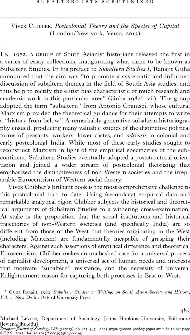 Subalternists Scrutinized - Vivek Chibber, Postcolonial