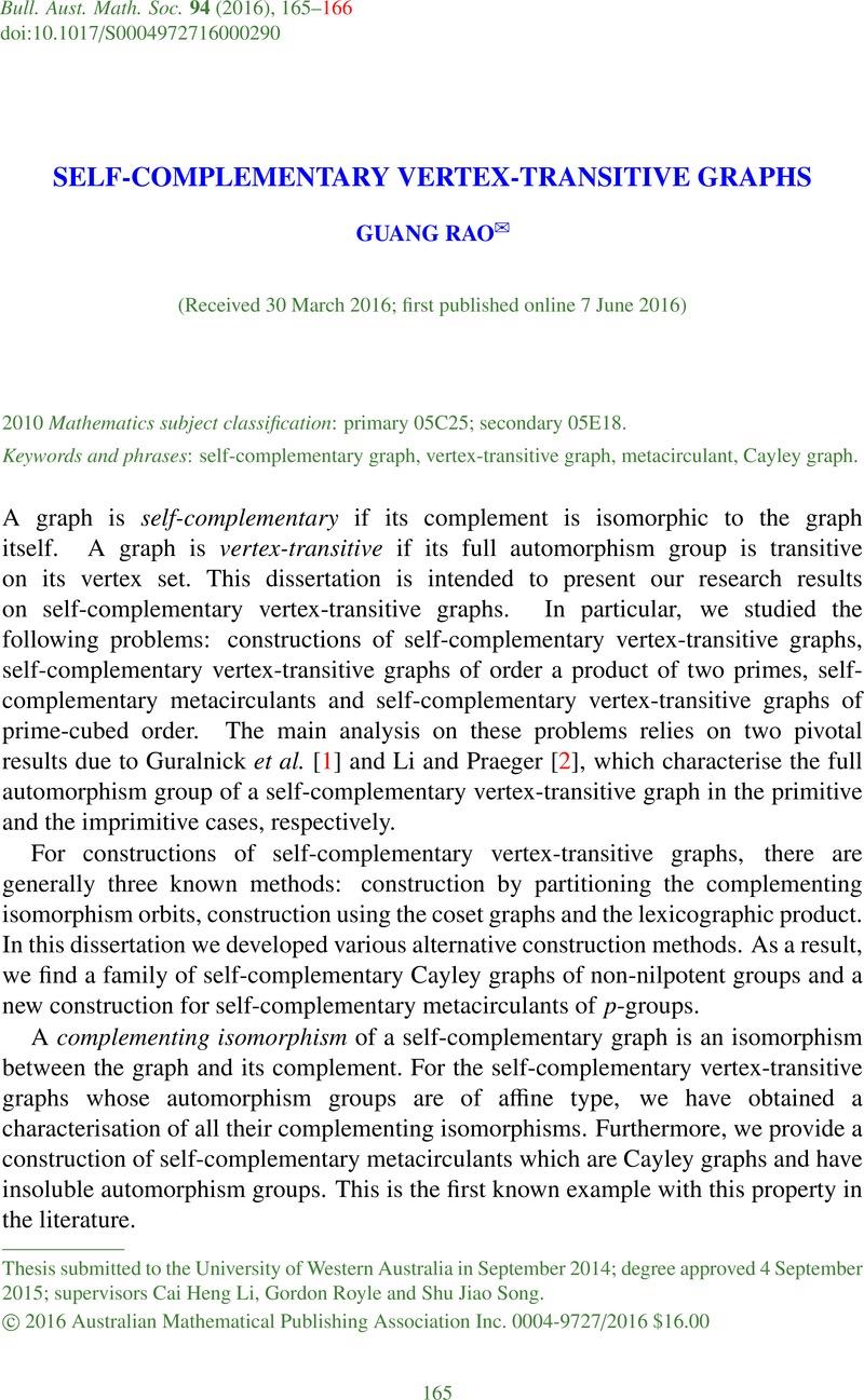 SELF-COMPLEMENTARY VERTEX-TRANSITIVE GRAPHS | Bulletin of