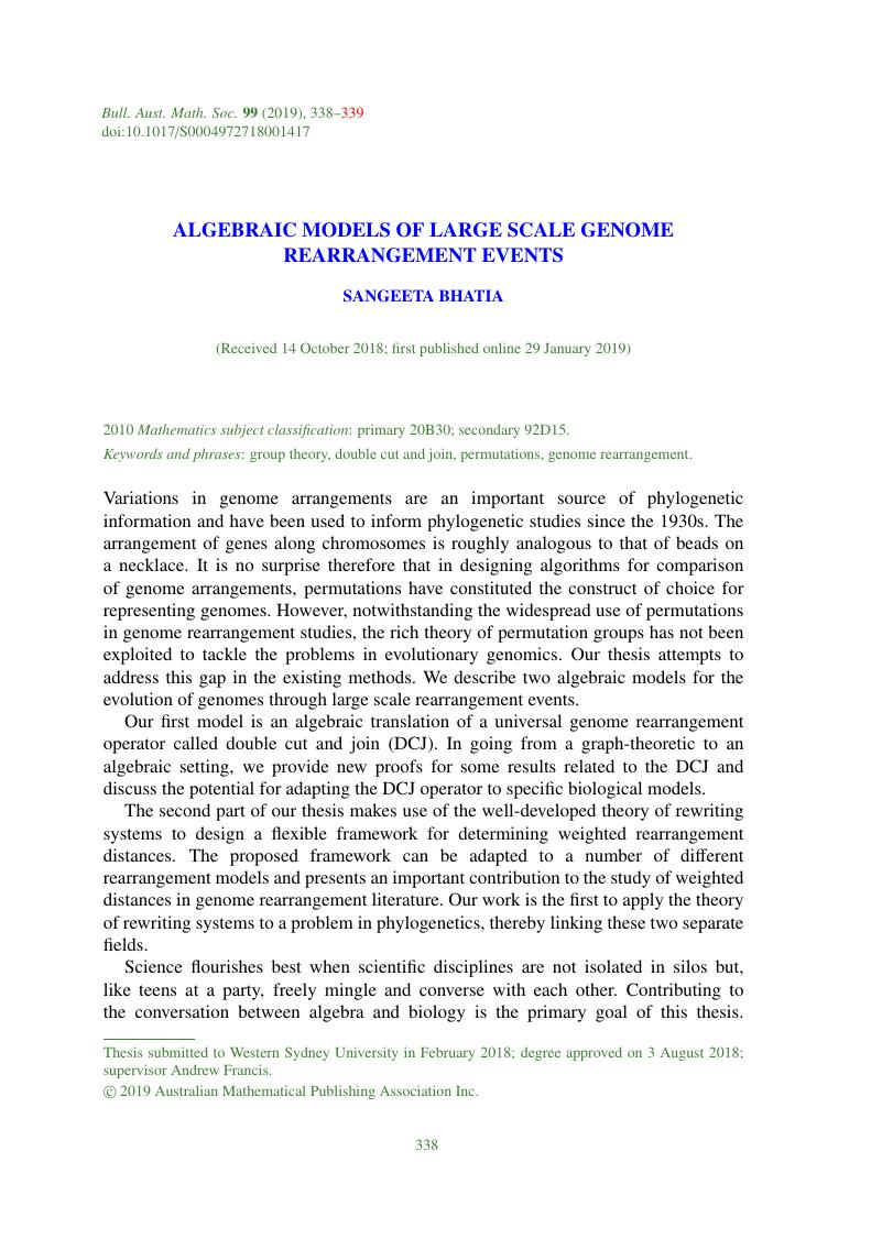 ALGEBRAIC MODELS OF LARGE SCALE GENOME REARRANGEMENT EVENTS