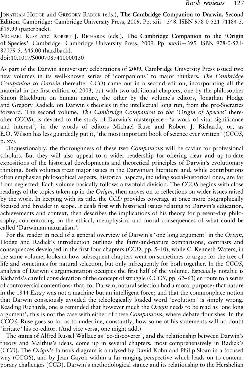 the cambridge companion to the origin of species ruse michael richards robert j
