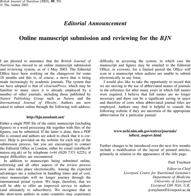 Online manuscript submission and reviewing for the BJN | British