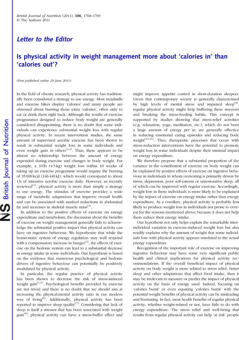 Is physical activity in weight management more about 'calories in' than  'calories out'?