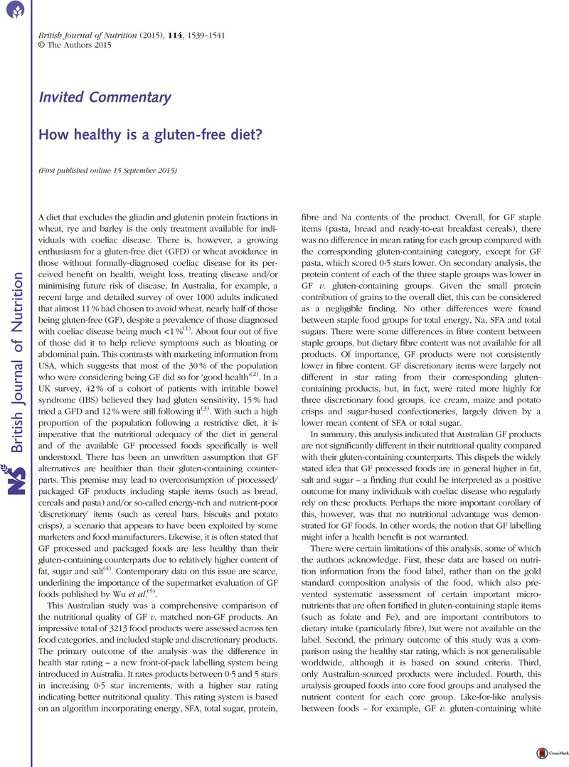 how healthy is a gluten free diet british journal of nutrition