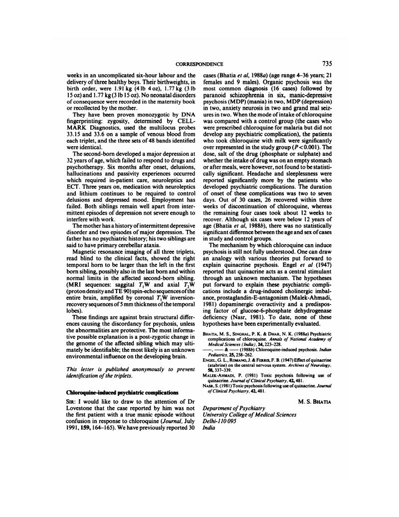 Chloroquine-induced psychiatric complications | The British