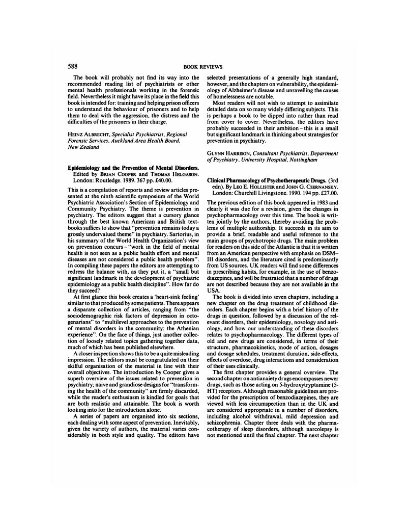 clinical use of psychotherapeutic drugs hollister leo e