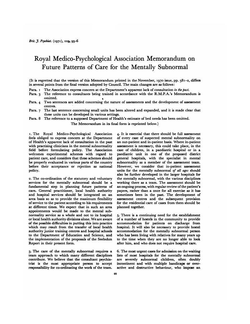 Royal Medico-Psychological Association Memorandum on Future