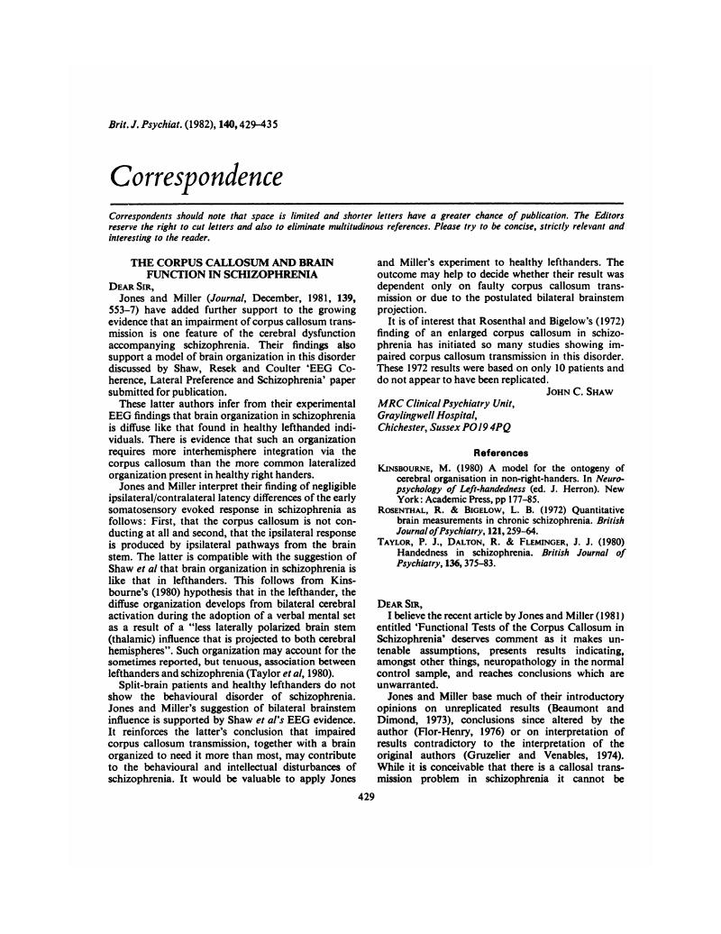 The Corpus Callosum and Brain Function in Schizophrenia | The ...