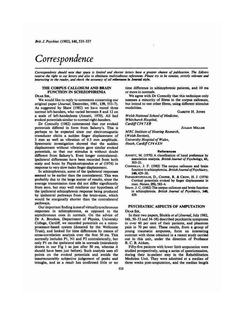 The Corpus Callosum And Brain Function In Schizophrenia The