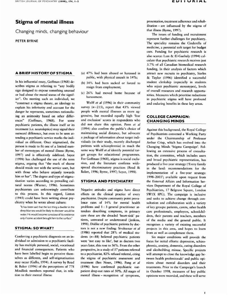 Stigma Of Mental Illness The British Journal Of Psychiatry