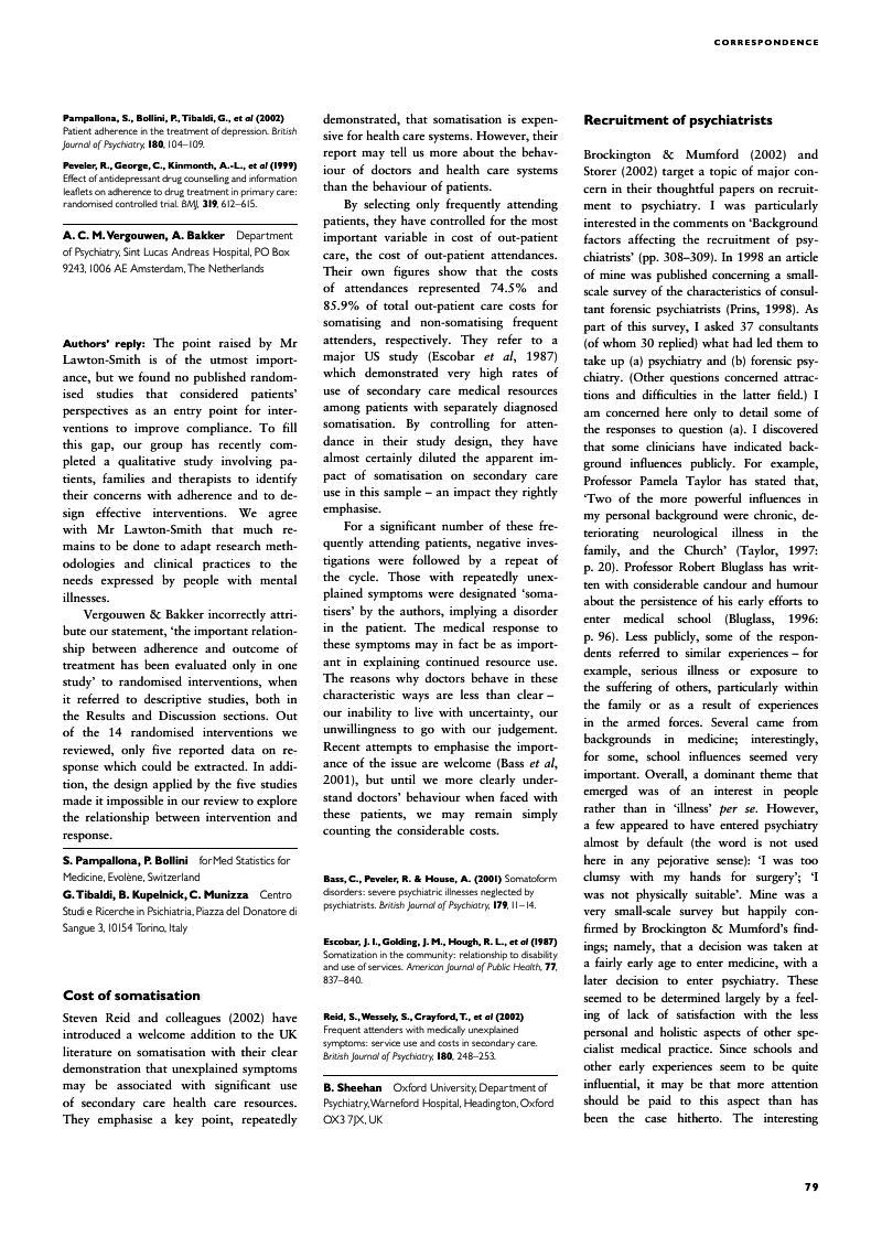 Cost of somatisation   The British Journal of Psychiatry   Cambridge