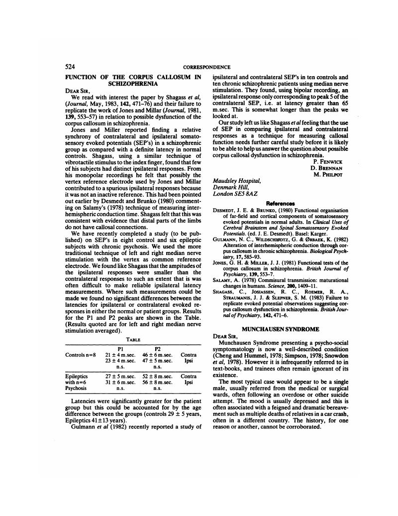 Function Of The Corpus Callosum In Schizophrenia The British