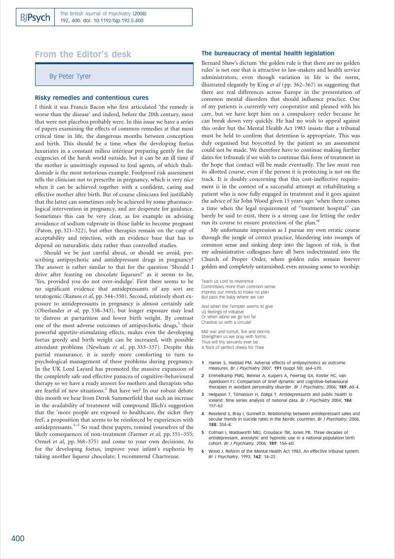 From the Editor's desk | The British Journal of Psychiatry