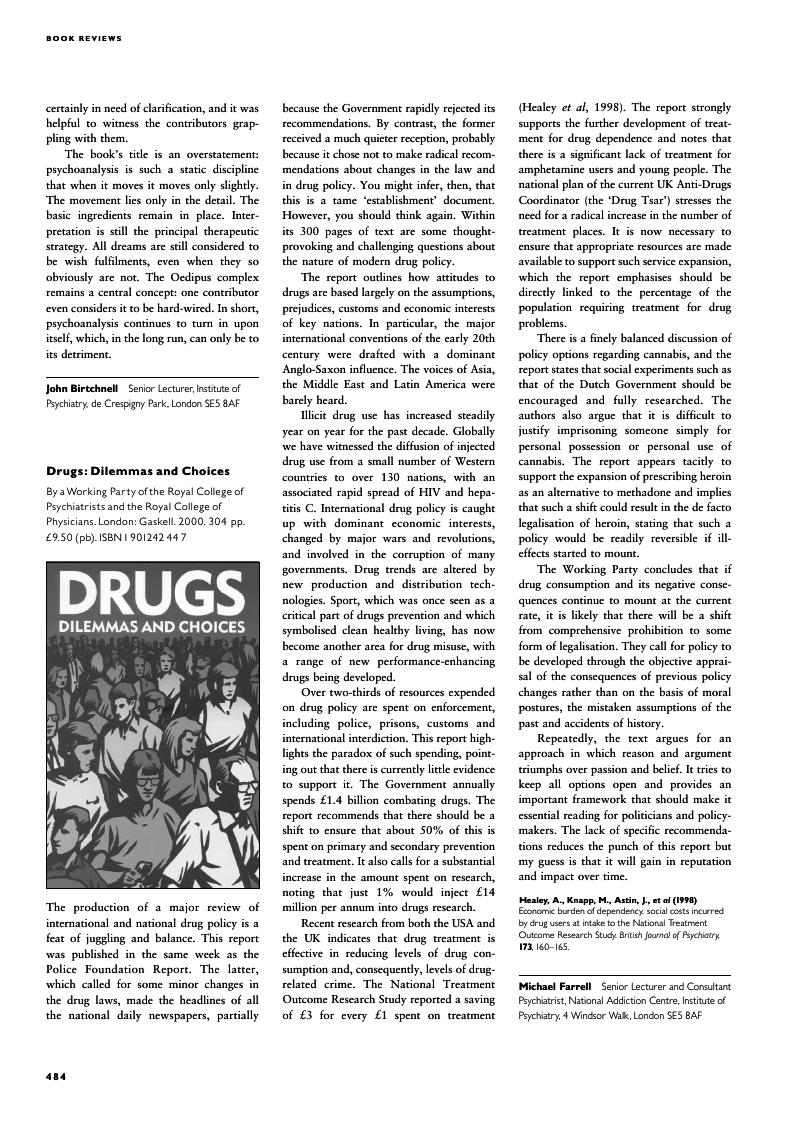 Drugs Dilemmas And Choices By A Working Party Of The Royal College Psychiatrists Physicians London Gaskell 2000 304 Pp