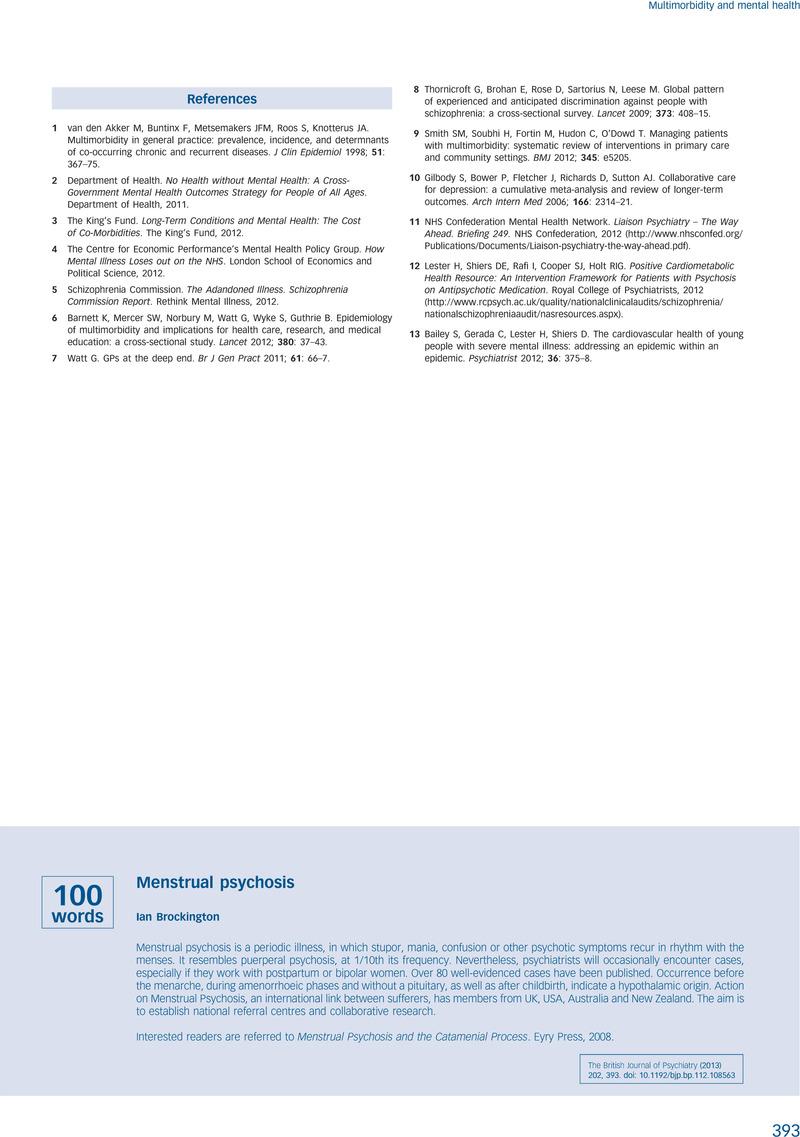 Menstrual psychosis | The British Journal of Psychiatry