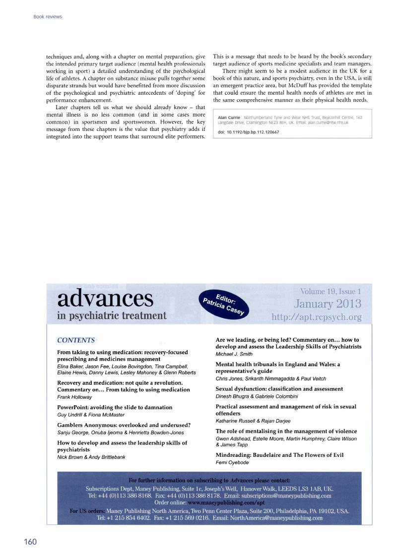 Contents Of Advances In Psychiatric Treatment The British Journal