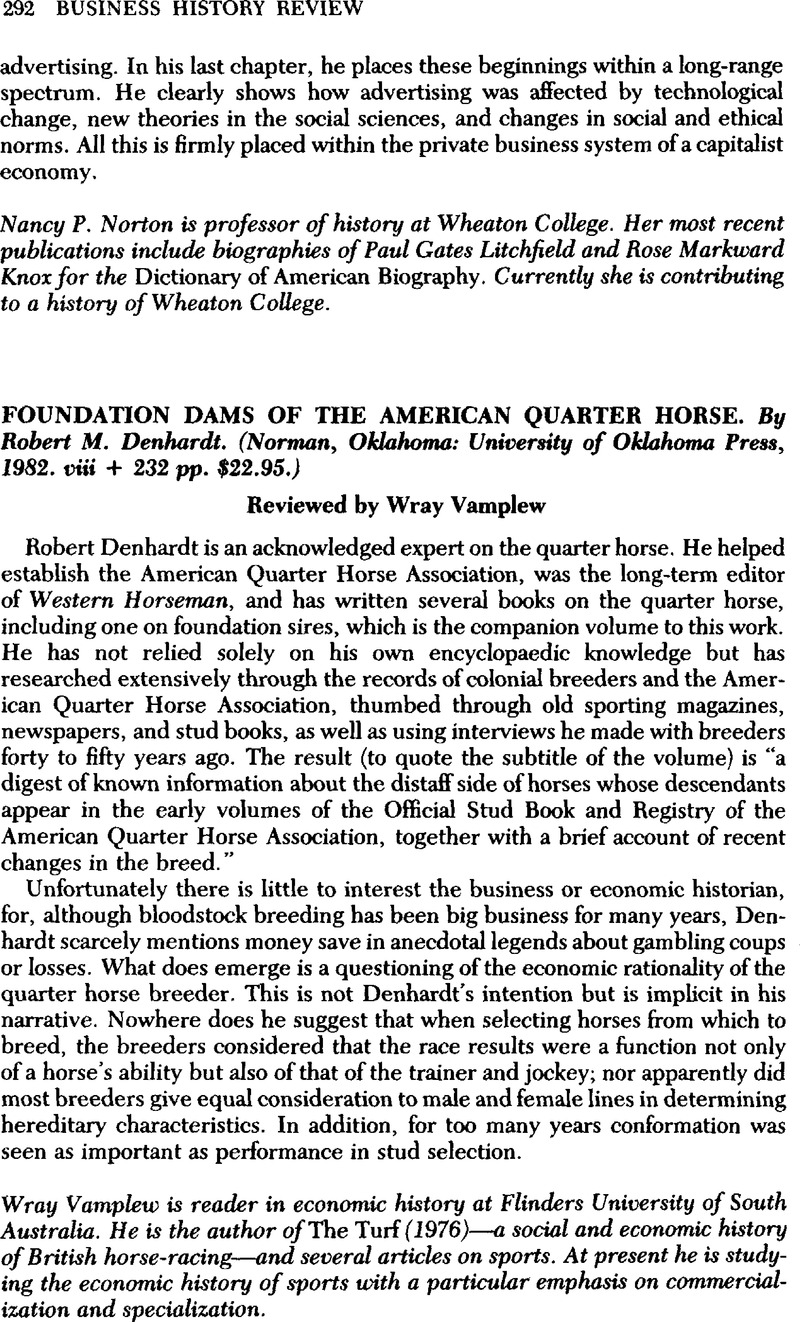 Foundation Dams of the American Quarter Horse  By Robert M