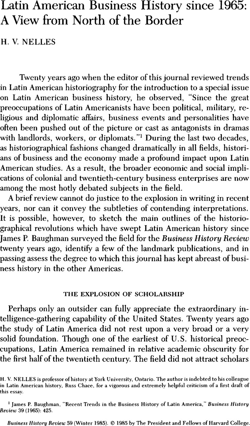 Latin American Business History since 1965: A View from