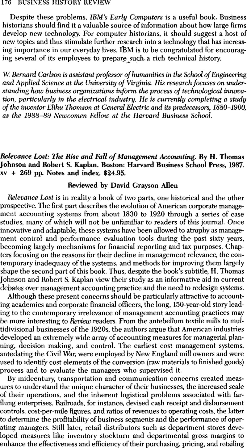Relevance Lost The Rise And Fall Of Management Accounting By H