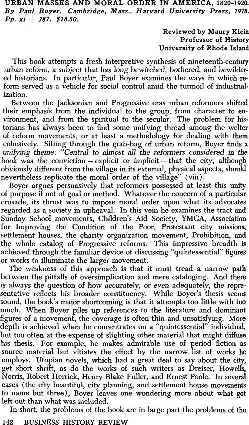 Urban Masses and Moral Order in America, 1820–1920. By Paul Boyer.  Cambridge, Mass., Harvard University Press, 1978. Pp. xi + 387. $18.50.