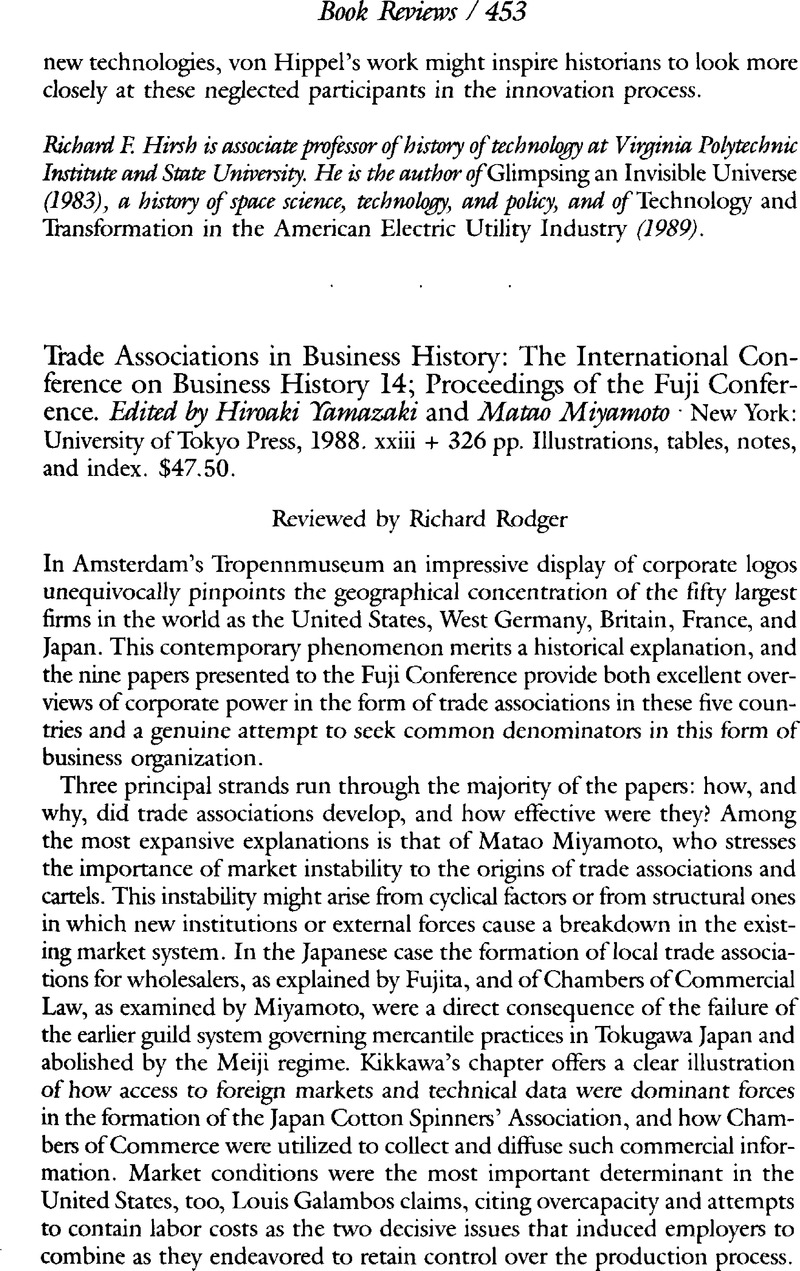 Trade Associations in Business History: The International Conference